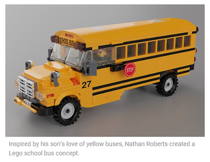Fueled by his design skills and his son's love of school buses, a Kansas City man has conceived what could become the first school bus Lego set.