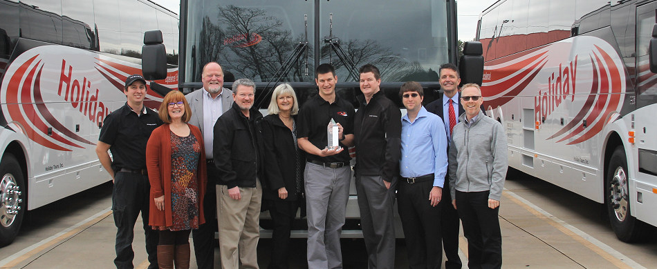 Holiday Tours, based in Randleman, NC, recently celebrated receiving their 100th Prevost motorcoach with the delivery of (5) new Prevost H3-45's. Holiday purchased their first Prevost coach in 1982 and the first H3-45 in 1991. Today the company has a fleet of 79 coaches, the vast majority of which are Prevost, serving more than 50,000 passengers annually.